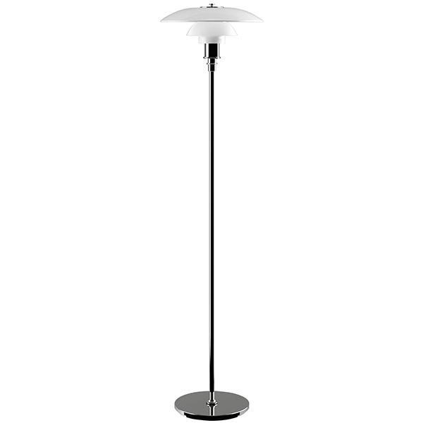 PH 3 1/2 – 2 1/2 floor lamp, chrome plated, opal glass