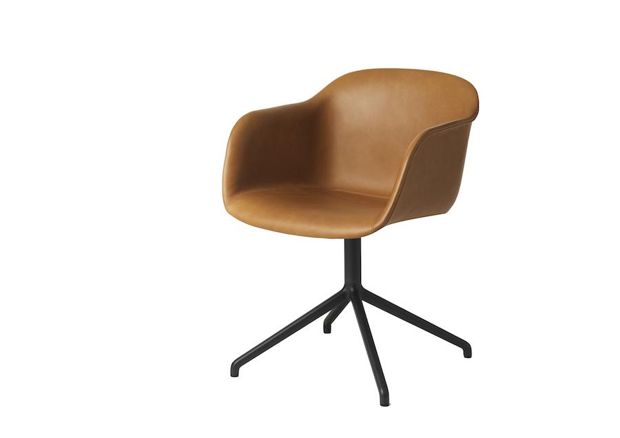 Fiber Swivel Armchair Leather