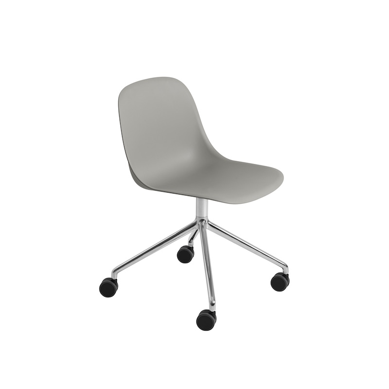 Fiber Side Chair Swivel, on castors