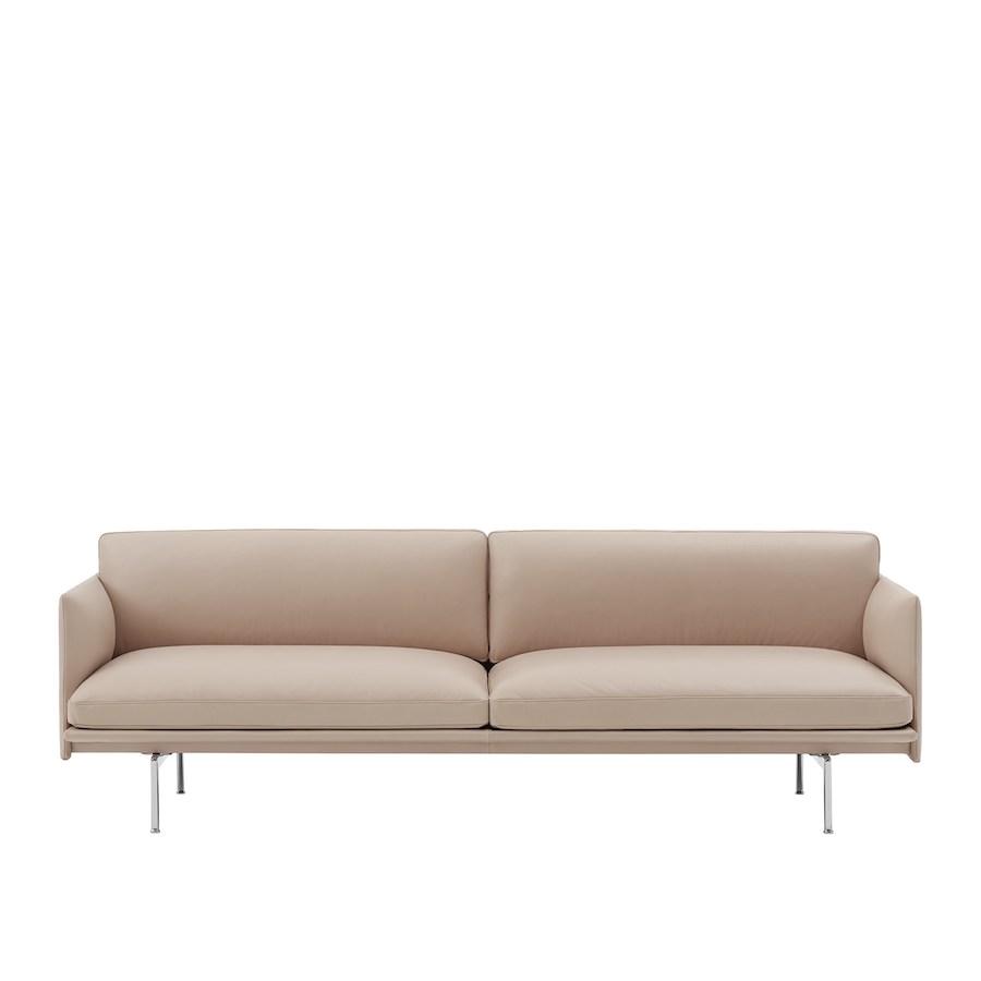Outline Sofa 3 seater-220cm  Leather- Polished Aluminium Base