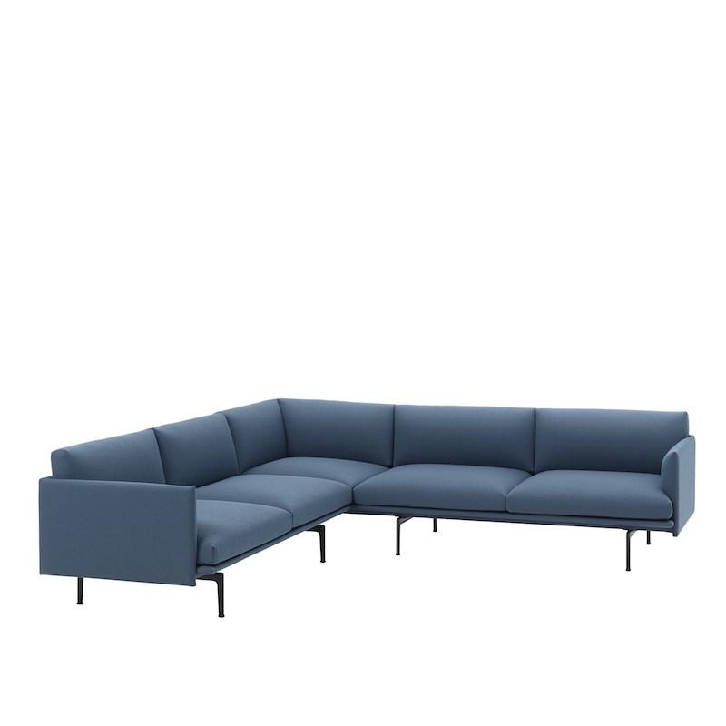 Outline Corner Sofa, Black Base