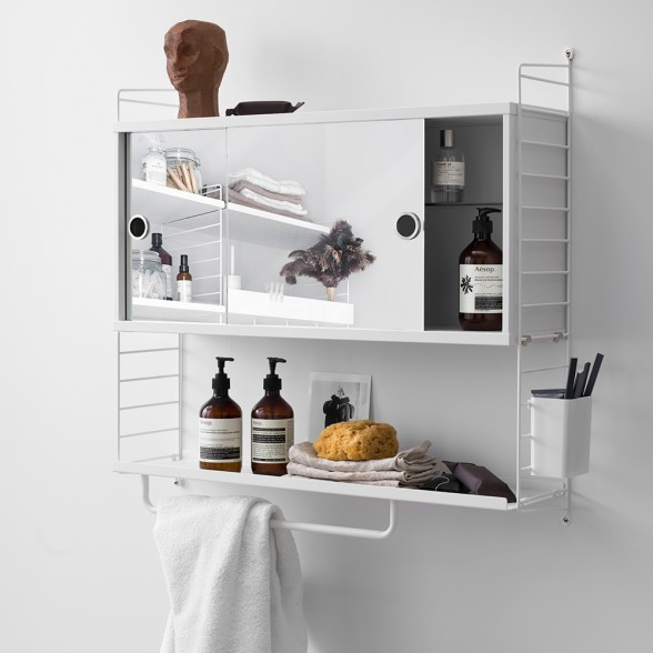 String Bathroom Cabinet White