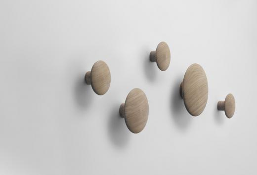 Dots wall hooks OAK-set of 5