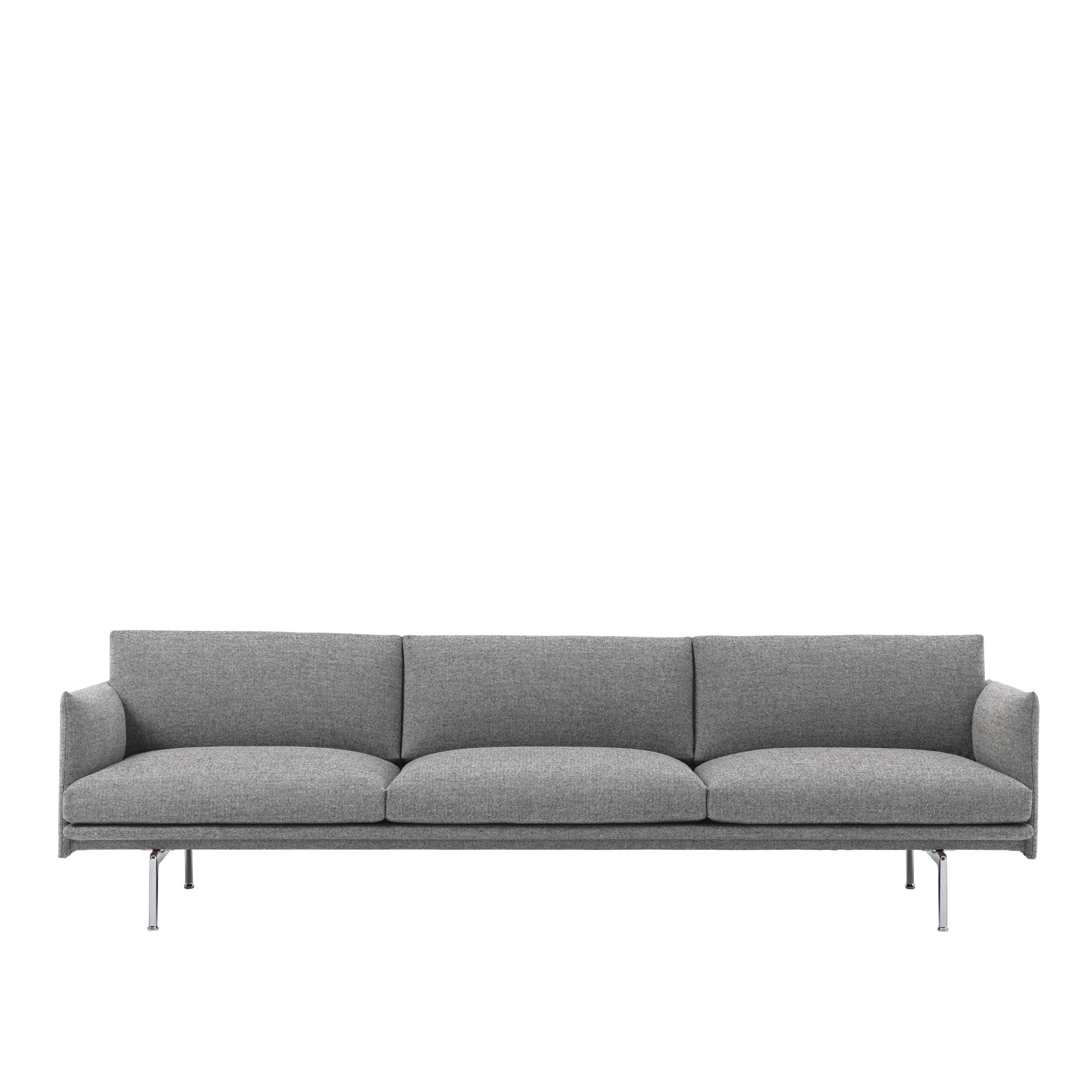 Outline Sofa 3 1/2 seater – Polished Aluminum Base