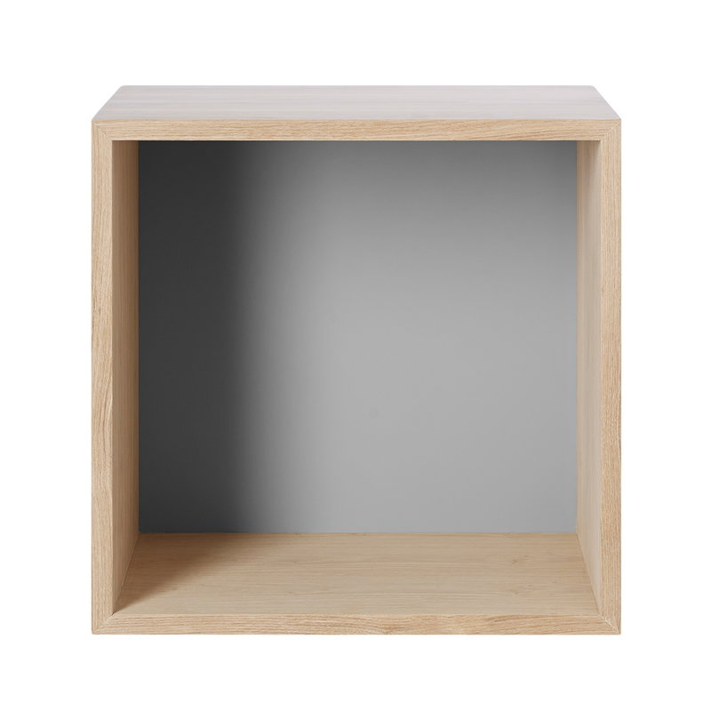 Stacked 2.0 shelf module with back, medium, oak and light grey