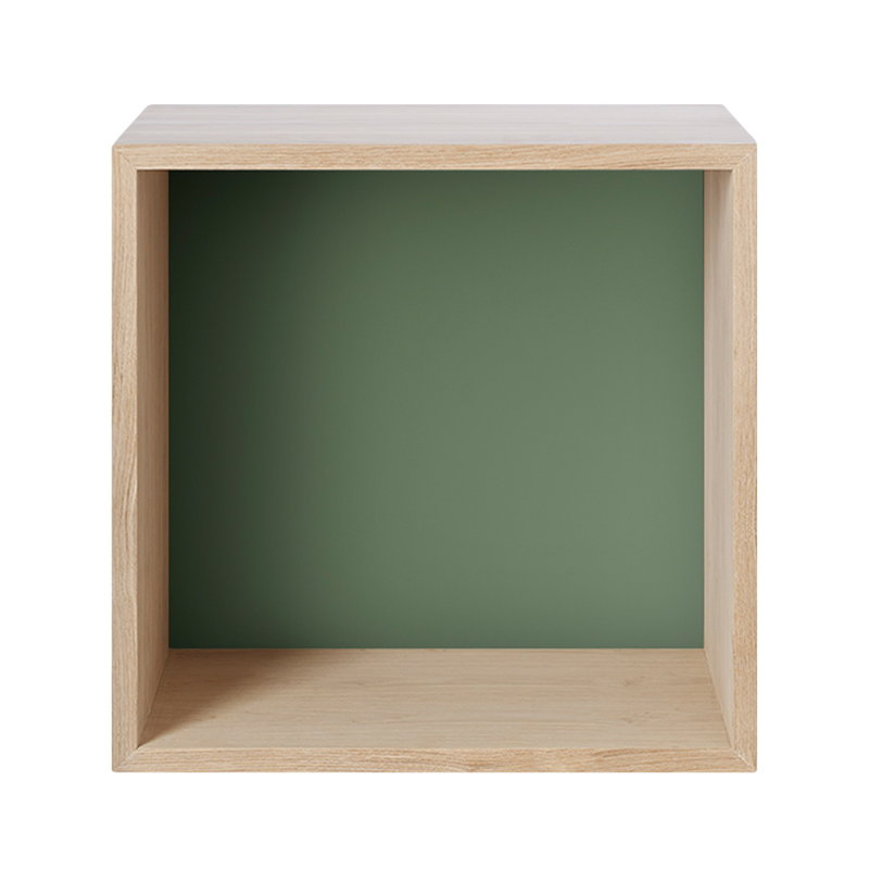 Stacked 2.0 shelf module with back, medium, oak and Dusty green