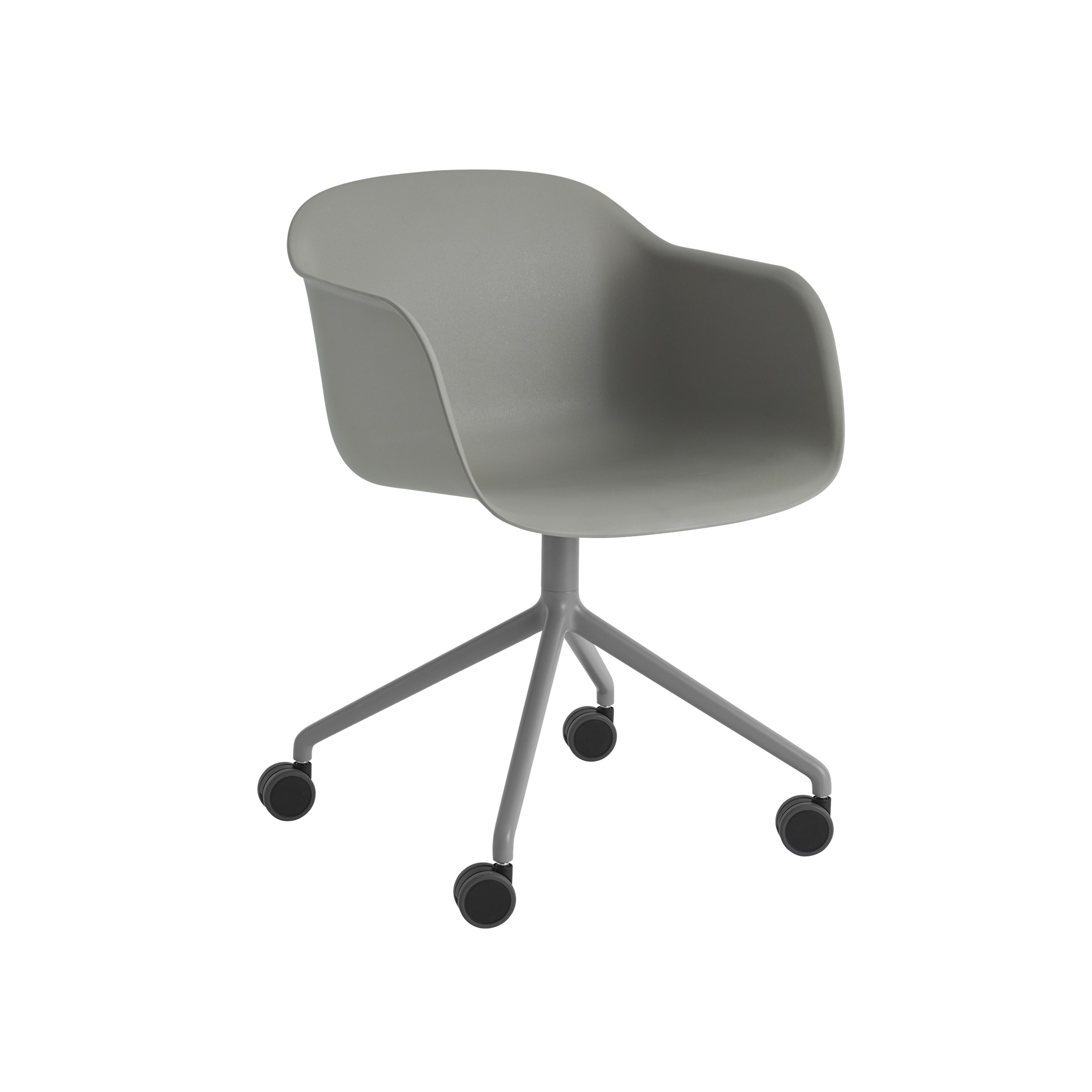 Fiber Swivel Shell Armchair with castors and gas lift