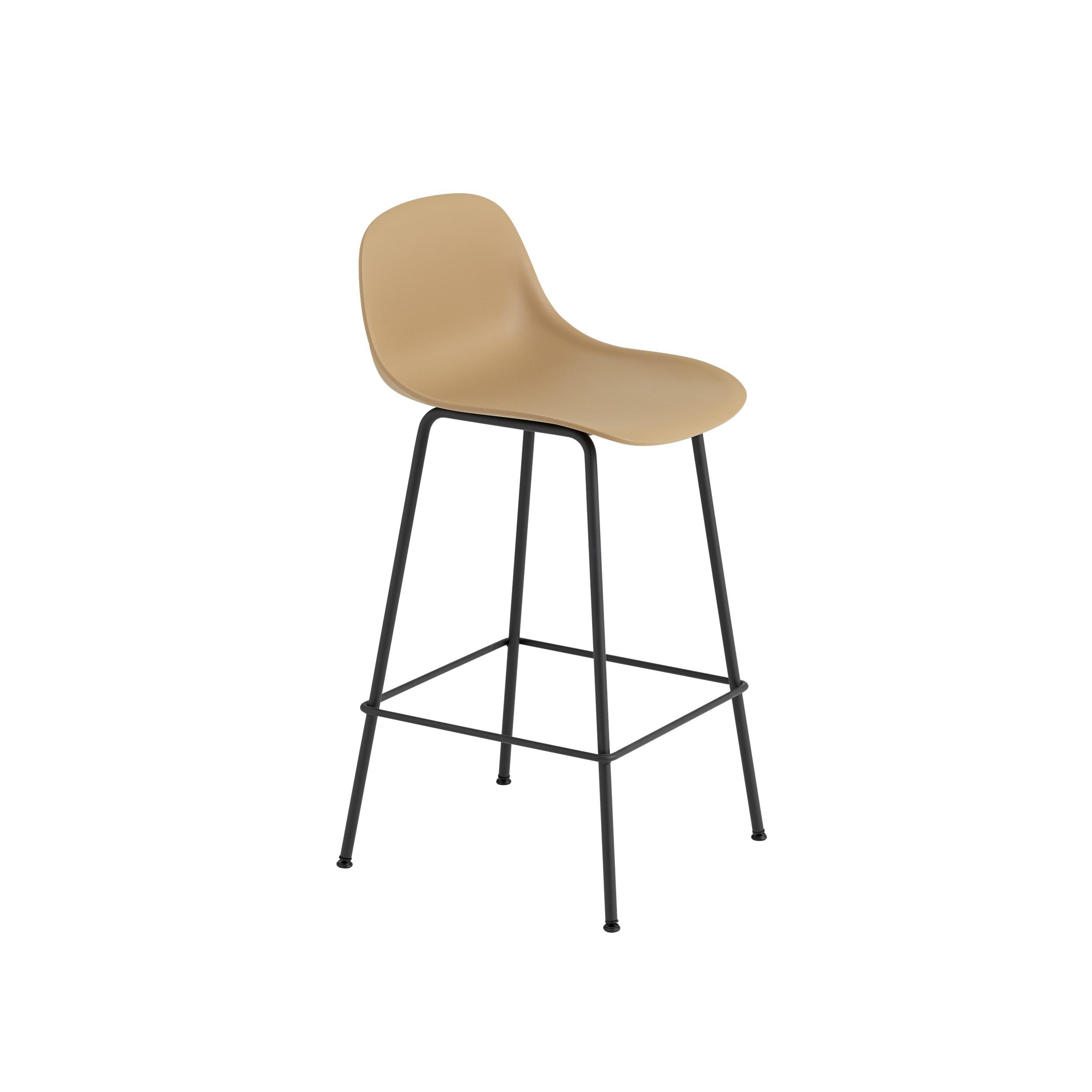 Fiber bar stool with backrest, tube base