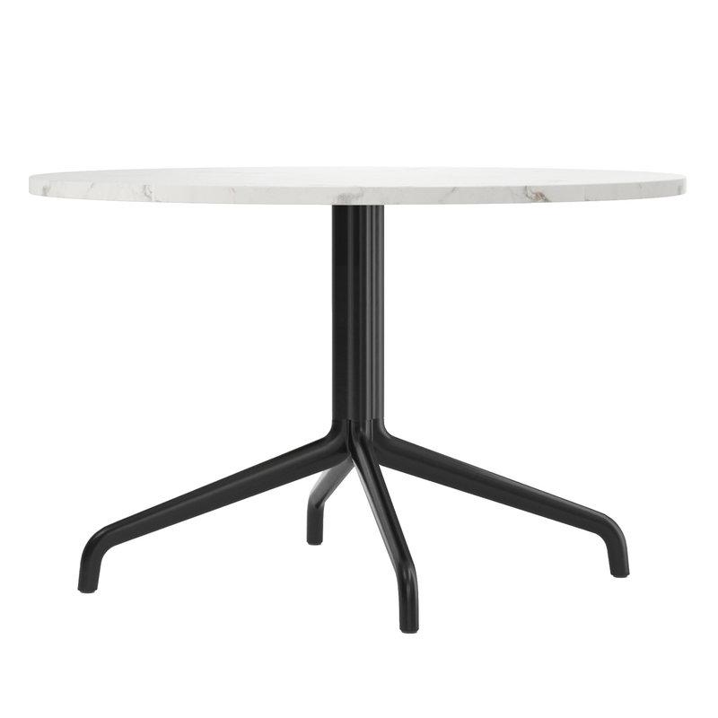 Harbour Column lounge table, 80 cm, black base – Estremoz marble