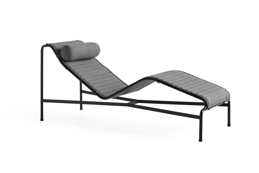 Hay Palissade Chaise Long, Anthracite with Head and Quilted Cushion